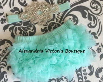 MINT and RHINESTONE BLOOMER set, baby headband and chiffon ruffle diaper cover, mint and rhinestone baby set, photo prop, bling headband.