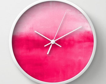 "Hot Pink Wall Clock Ombre 10"" Clock Abstract Art Modern Home Decor White Black"