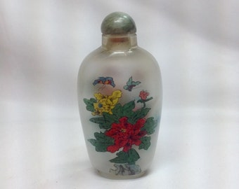 Vintage Glass Snuff Bottle Lid Cap with Attached Spoon Dabber Hand Painted Red Yellow Blue Green Flowers Butterflies Small Perfume Bottle