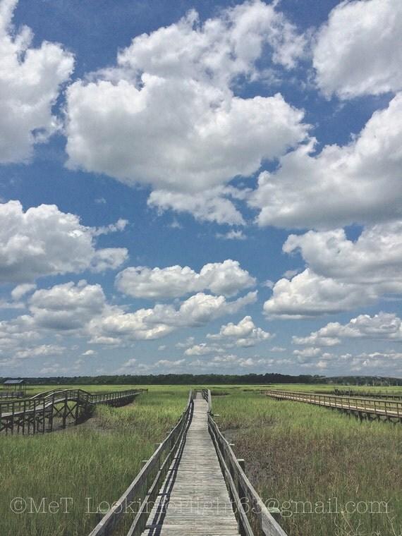 Intercoastal Marsh Photo | Cloudy Landscape Art | Blue sky Green Marsh | North Carolina Coast | Sunset Beach Photo | North Carolina Nature