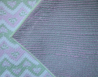 Pink, green and white faux chenille handmade baby blanket