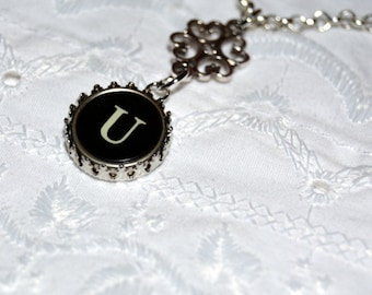 Typewriter Key Necklace, Handmade Vintage Style Initial Necklace, Personalized with a Letter U Initial. Eco Friendly Gift.