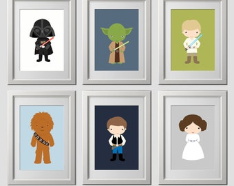 star wars nursery wall decor, CUSTOM COLORS, starwars wall prints, color customized wall prints, high quality prints set of 6 prints 8x10