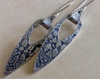 Swinging Tribal Silver Earrings