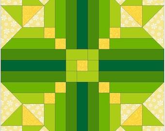 Irish Logs Chain Paper Template Quilting Block Pattern PDF