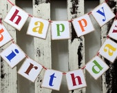 Happy Birthday Banner Multi Color 2 Piece Garland Shabby Chic Banner Custom Banner