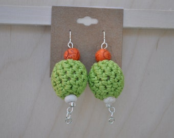 Beaded Jewelry - Earrings - Green, Orange and Khaki
