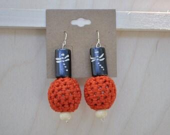Crochet Earrings - Unique Jewelry - Orange - Dragonfly