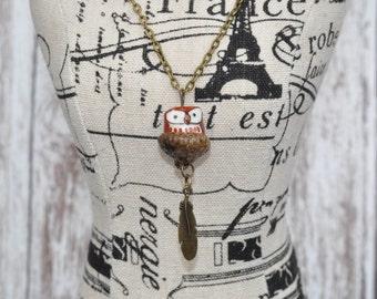 Feather Necklace - Acorn Jewelry - Owl