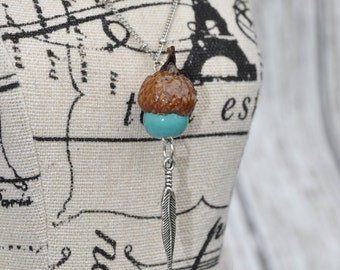Acorn Jewelry - Necklace - Feather - Blue - Silver