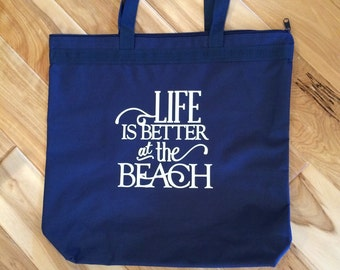 Life is Better at the Beach personalized tote/beach bag