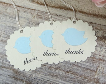 Bird Baby shower thank you tags, Blue Baby shower favor tags, Boy Baby shower gift tag, Baby boy shower thank yous