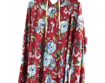 Maroon Floral Raglan Hoodie
