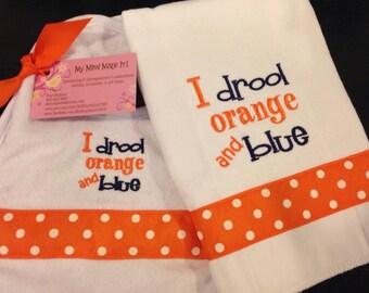 I Drool Orange and Blue Bib / Burp Cloth Set