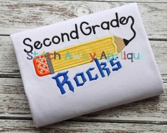 Second Grade Rocks Back to School Machine Applique Design