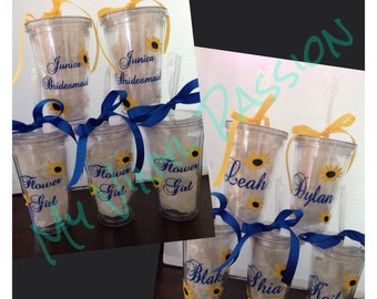 Sunflower Wedding Party Tumblers; Personalized 16 oz. Tumbler with Lid and Straw; Sunflower; Wedding Tumblers