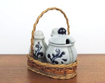 Vintage * 1970s Geerman Cruet Stand / Menage Salt Pepper Mustard Pot * Steins * Ceramics * rustic Bavarian Style * Oktoberfest Buffet