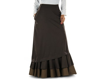 Munerah Brown Long Skirt AS015 Islamic Formal, Daily, Casual & Party Wear Made In Poplin Fabric, Pocket Both Sides,Muslim Women Skirt