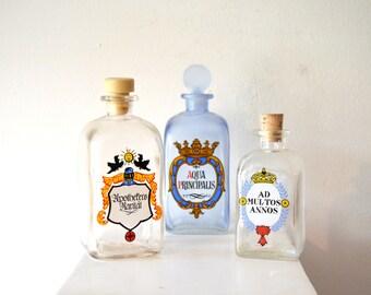 Vintage Medicine Bottles / Vintage Pharmacy Bottles / Vintage Apothecary Bottles / Set of 3 German Vintage Antique Apothecary Bottles