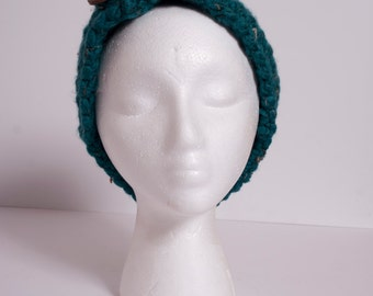 Chunky Ear Warmer Head Band with Button