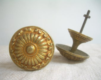 2 cabinet KNOBS HANDLES  for drawers or cabinet doors, VINTAGE from  '60, brass handle