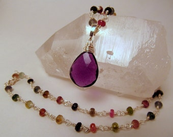 Versatile Watermelon Tourmaline Necklace with Purple Quartz Pendant