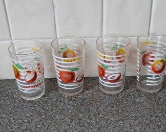 50s 60s fruit drinking glasses