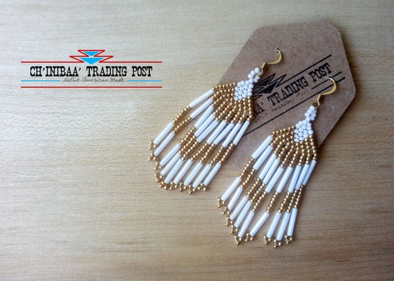 White and Gold Chevron Traditional Native American Earrings- Pow Wow Style