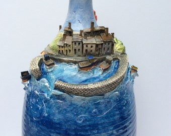 Fishing village on a bottle.