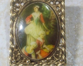 Small Victorian Scene Three Maids Porcelain Vintage Brooch