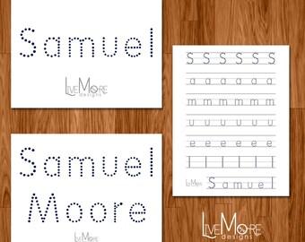 Downloadable Customized Printable Name Writing Worksheet Set