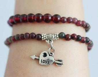 "Raw gemstone effect mini beads ""LOVE"" bracelet -love bracelet -yoga bracelet- heart bracelet- lover bracelet -stone bead bracelet"