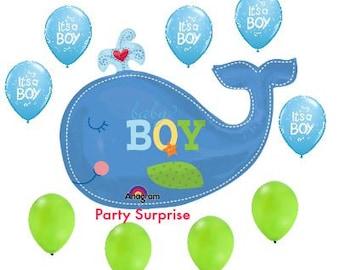Baby Boy Shower Nautical Balloons, Whale Baby Boy Balloon Bouquet, New Baby Boy Balloons