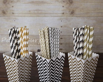 Straws Black White Gold Striped Damask Paper Straws Mix, Wedding Cake Pop Sticks Mason Jar Birthday Party Drinking Straws