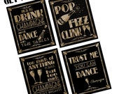 2016 New Years Eve Champagne - Party Bundle 16x20 size- Art Deco/Great Gatsby/1920's theme-4 designs-DIY-black and glitter gold