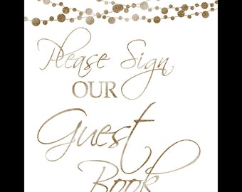 please SIGN our GUEST BOOK - Printable - moonlit collection-instant download - diy white and glitter gold