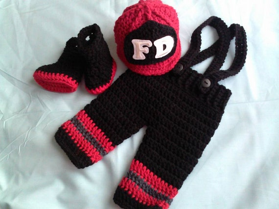 Crochet Patterns For Baby Frocks : Crochet baby firefighter photo prop, crochet fireman ...