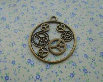 6 pcs of antique bronze color peace symbol pendant charm , 49*43mm , MP1
