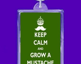 keyring double sided -keep calm grow a mustache . , keychain, keyfob - - novelty funny new keychain key ring