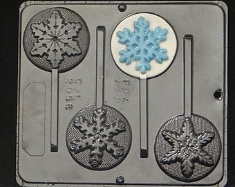 Snowflake Assortment Lollipop Chocolate Candy Mold Christmas (Great for FROZEN Movie Parties) 2058