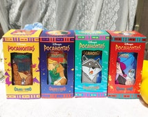 4 Vintage Pocahontas Disney Collector's Cup set, Colors of the Wind, Burger King mug, tumbler pint glass, Series, retro, Coca Cola, Box