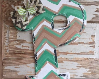 Chevron Initial Monogram Door Hanger