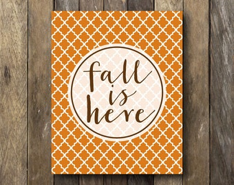 Fall Wall Decor - Instant Download Printable - Fall is Here - Fall Home Decor - Fall Printables