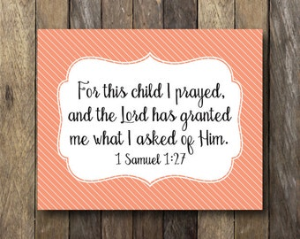 For This Child I Have Prayed - Instant Download Nursery Art