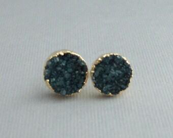 Green Druzy Studs,Earrings,Gold Earrings,Green Earrings,Silver Stud,Green Druzy,Green Stone,Green Geode,Gold and Aqua,Post Earring.