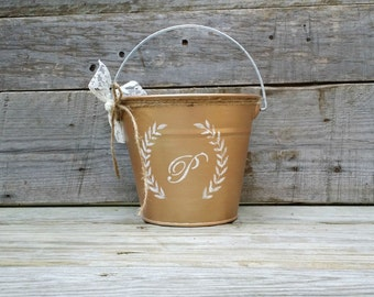 Personalized Rose Gold Flower Girl Pail,  Rustic Flower Girl Pail, Rustic Wedding Decor, Flower Girl Basket, Wedding Centerpiece