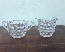 Vintage Cubist Fostoria glass creamer and sugar,  geometric vintage glass q bert design, American pattern