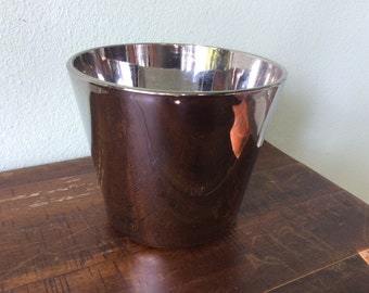 Vintage silver fade ice bucket, Queen's lusterware mid century modern matchbox holder, mercury glass ice bucket , unique wedding gift idea