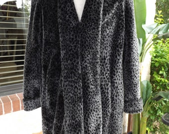 Faux Fur By John Caruana Three Quarter Length Black And Silver Coat Womans SZ L