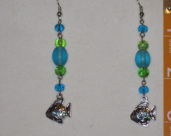 Turquoise and Green Fish Earrings